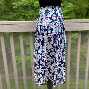 Vintage 80s does 30s Floral Drop Waist Midi Skirt